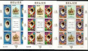 Belize 618-620 Mint NH MNH Full Sheets Diana's 21st Birthday!
