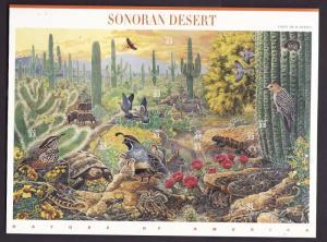 USA-Sc#3293-unused NH sheet-Sonoran Desert-Birds-Animals-