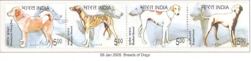 India 2005 Breeds of Dogs Se-tenant Phila -2108 MNH Animal