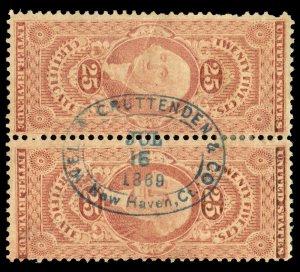 B491 U.S. Revenue Scott R44c 25c Certificate pair, blue 1869 oval handstamp cxl