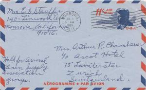 United States U.S. Postal Stationery 11c Kennedy Air Letter 1965 Monrovia, Ca...