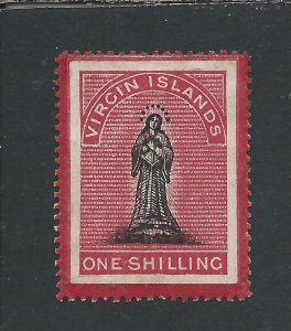 BRITISH VIRGIN IS 1867 1s BLACK & ROSE-CARMINE ON WHITE PAPER  MM SG 18 CAT £90