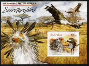 Uganda 2012 WWF - Secretary Bird imperf m/sheet unmounted...