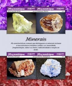 MOZAMBIQUE - 2019 - Minerals - Perf 4v Sheet - MNH