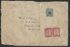 NORTH BORNEO (P0112B) 1939 10C BOAR+8C MAPX2 PASSED BY CENSOR 23 TO NEW ZEALAND