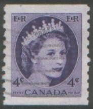 Canada 1954 4c coil stamp SG470 used