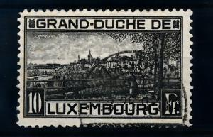 [69206] Luxembourg 1923 10 Fr. Black Perf. 11 1/2  USED VF