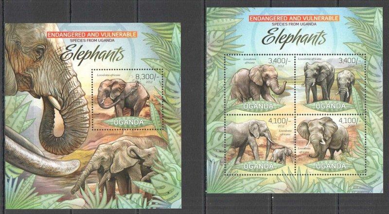 UG032 2012 UGANDA ELEPHANTS ANIMALS ENDANGERED & VULNERABLE #2965-8+BL406 MNH