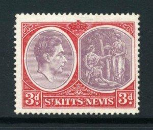 St Kitts 1938 KGVI 3d perf 14 chalk paper SG 73g mint