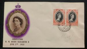 1953 Barbados QE 2 Coronation First Day Cover Queen Elizabeth FDC B