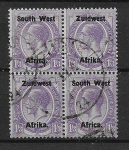 SOUTH WEST AFRICA SG23 1923 1/3 PALE VIOLET USED BLOCK OF 2 PAIRS
