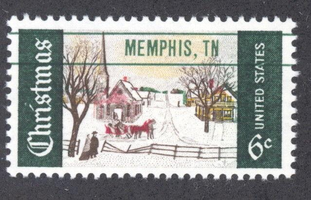 US 1384 Stamp W Color Shift Memphis TN Precancel