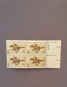 1154, Pony Express, Plate Block UR, Mint OGNH, CV $3.00