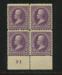 1894 US Stamp #253 3c Mint Plate Block of 4 Catalogue Value $500