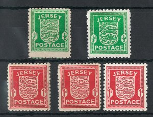 Jersey 1941 Wartime ½d, 1d Arms, ditto grey paper & 1d chalky fine mint cat ...
