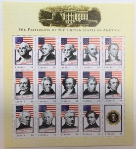 Liberia Souvenir Sheet: $6 Presidents of the United States (Circa 2000)