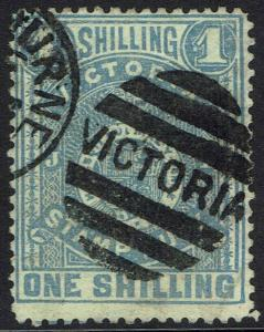 VICTORIA 1884 ARMS STAMP DUTY 1/- BLUE/YELLOW POSTALLY USED