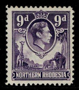 NORTHERN RHODESIA GVI SG39, 9d violet, M MINT.
