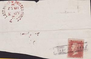 GB SCOTLAND 1857 large piece 1d red LONDON STREET Scots local cancel........7548