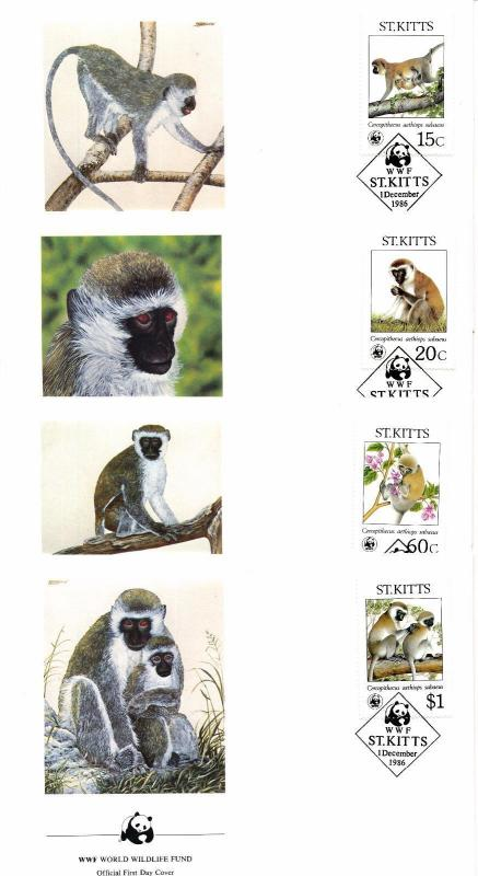 [54169] St. Kitts 1986 Wild animals Mammals WWF Monkeys FDC 4 covers