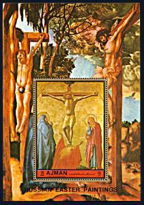 Ajman Michel Block 458A, MNH, Crucifixion Painting by Masaccio souvenir sheet