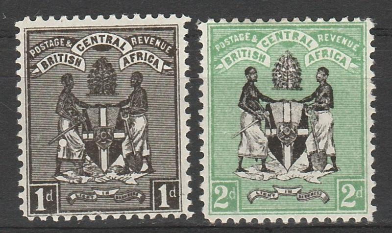 BRITISH CENTRAL AFRICA 1896 ARMS 1D AND 2D */** WMK CROWN CC