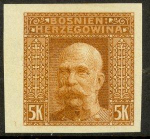 BOSNIA AND HERZEGOVINA 1906 5K Orange Brown FRANZ JOSEPH Color Trial Sc 45var NG