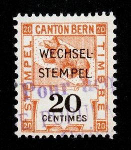 SWITZERLAND 1914 CANTON BERN TAX STAMP 20 CENTIMES OVERPRINTED 'WECHSEL-STEMPEL'