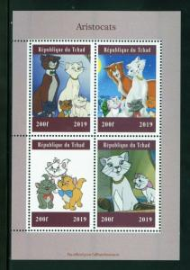 CHAD  2019 ARISTOCATS SHEET OF FOUR  MINT NH