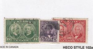CANADA (MK3366) # 146-148  F-VF-USED  VARcts  1927 HISTORICAL ISSUES CAT VAL $21