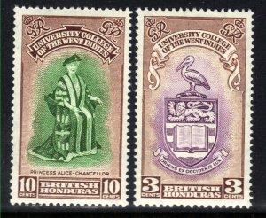 British Honduras 1951 KGV1 Set Inaug BWI College Umm SG 176 - 177 ( J773 )