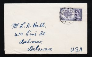 Australia 7½d Scott #260 Cover Queen Elizabeth 2 Coronation QE2 to USA 1953