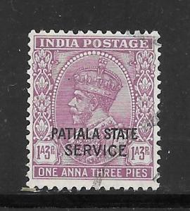 India Convention States Patiala #O43 Used Single