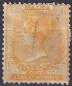 Malta #3c F-VF Used  CV $130.00  (Z1637)