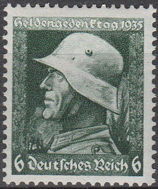 Stamp Germany Mi 569 Sc 452 1935 WWII Fascism War Memorial Soldier Hero WWI MH