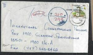 ZIMBABWE (PP1405B)  80C    TO USA TAXED 210/290