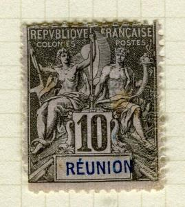 FRANCE COLONIES; REUNION 1892 early Tablet type fine used 10c. value