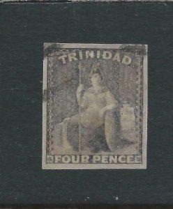 TRINIDAD 1859 4d GREY-LILAC FU SG 25 CAT £325