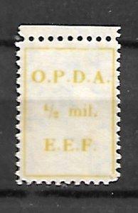 BRITISH PALESTINE ISRAEL.1924. O.P.D.A. REVENUE FISCAL TAX STAMP 1/2Mil,. MNH