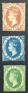 MOMEN: ST LUCIA SG #1-3 1860 SMALL STAR MINT OG H £625 LOT #61597