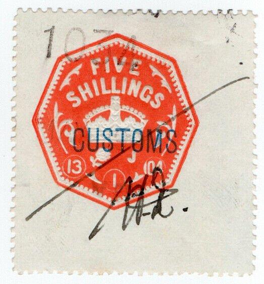 (I.B) Edward VII Revenue : Customs Duty 5/- (1904)