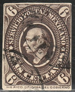 MEXICO 170, 6cents USED, CLIPPED PERFORATIONS. F (64)
