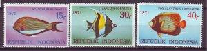 J25074 JLstamps 1971 indonesia set mnh #810-12 fish