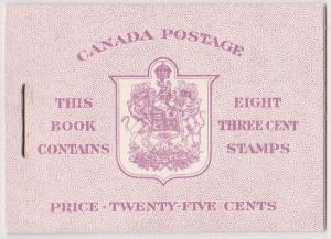 Canada - 1950 3c Rose Violet English Booklet #BK40b Type II No Rate Page