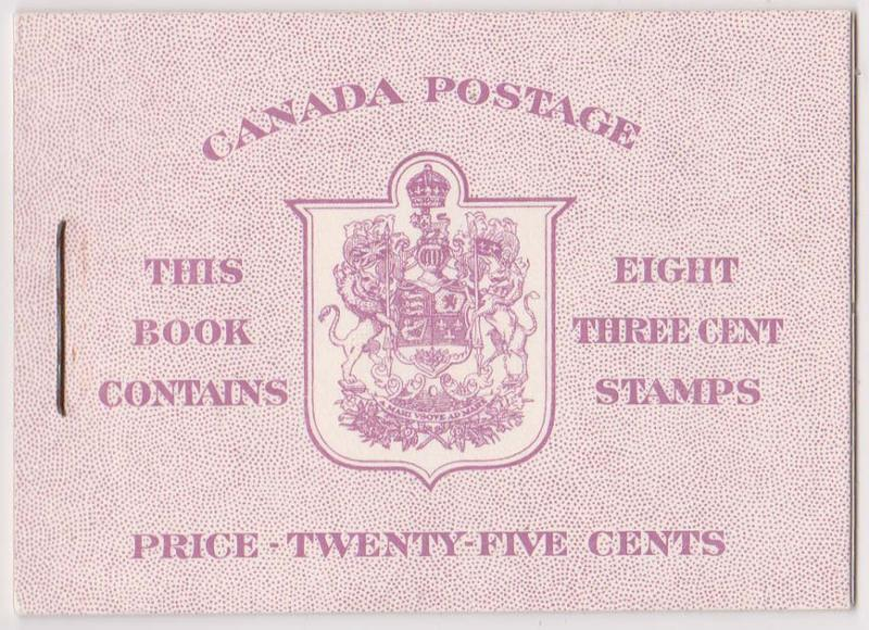 Canada - 1950 3c Rose Violet English Booklet #BK40b
