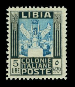 LIBYA 1937 Pictorials - Victory 5L black, blue - Perf. 11 Sc# 60a mint MNH  Rare