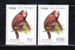 Peru C411-C412 Set MNH Animals