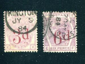 Great Britain #94,95   Used VF CDS   - Lakeshore Philatelics