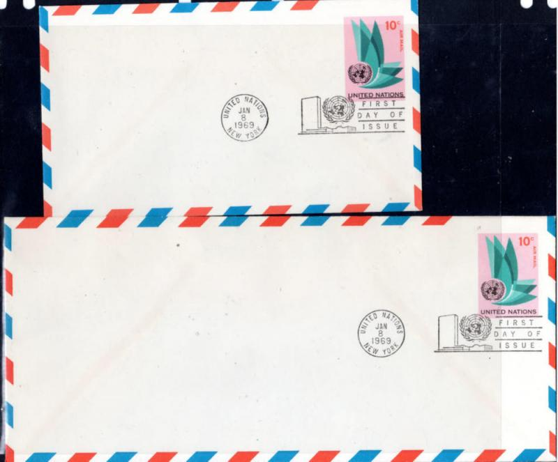 UN 2 OLDER $.10 AIRMAIL POSTAL STATIONERY  FDC's