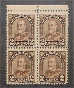 Canada 166. 1930-31 2c KGV  block of four, three NH